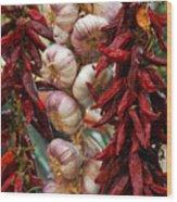 Braid Of Garlic Framed By Ristras Wood Print