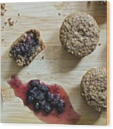 Bran Muffins With Mulberry Jam Wood Print