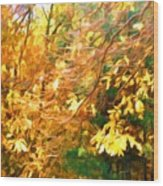 Branch Of Autumn Leaves Wood Print
