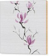 Branch Of Blooming Purple Magnolia Flowers Japanese Zen Sumi-e P Wood Print