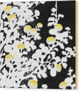 Branches Of White Yellow Leaves And Flowers At Night, Black Background Wood Print