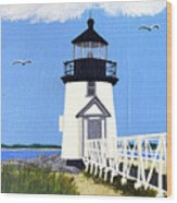 Brant Point Lighthouse Painting Wood Print