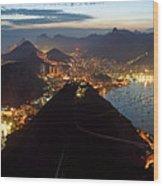 Brasil,rio De Janeiro,pao De Acucar,viewpoint,panoramic View,copacabana At Night Wood Print