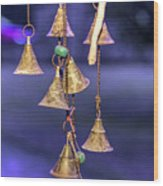 Brass Bells Hanging In The Illuminated Courtyard At Winter Night Wood Print