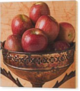 Brass Bowl With Fuji Apples Wood Print