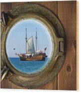 Brass Porthole Wood Print
