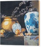 Brass Pot With White And Blue Vase Wood Print
