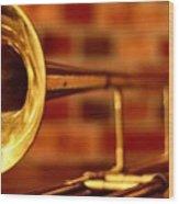 Brass Trombone Wood Print