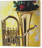 Brass Tuba With Red Roses Wood Print