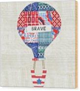 Brave Balloon- Art By Linda Woods Wood Print