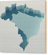 Brazil Simple Intrusion Map 3d Render Wood Print
