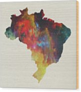 Brazil Watercolor Map Wood Print