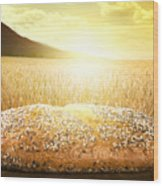Bread And Wheat Cereal Crops At Sunset Wood Print