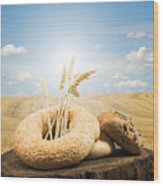 Bread And Wheat Ears. Wood Print by Deyan Georgiev