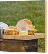 Bread With Butter On Cutting Board Wood Print
