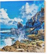 Breakers On The Rocks At Kenridgeview - On - Sea L B Wood Print