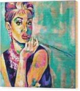 Audrey Hepburn Painting, Breakfast At Tiffany's Wood Print