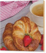 Breakfast With Croissants Wood Print