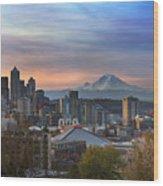 Breaking Dawn In Seattle Wood Print
