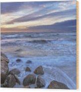 Breaking Waves At Old Silver Beach Wood Print