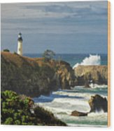 Breaking Waves At Yaquina Head Lighthouse Wood Print