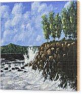 Breaking Waves Painting Wood Print
