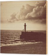 Breakwater At Sete Wood Print