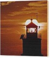 Breakwater Light Sunset Wood Print