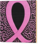 Breast Cancer Awareness Ribbon Wood Print by Mandy Shupp