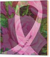 Breast Cancer Ribbon Rose Wood Print