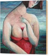 Breast Wine Wood Print