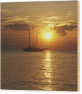 Breathtaking Sailboat Ocean Sunset #0182 Wood Print