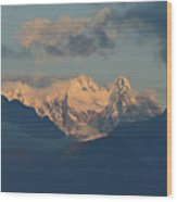 Breathtaking View Of The Italian Alps With A Cloudy Sky  Wood Print