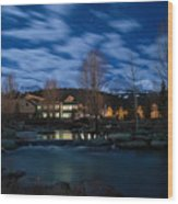 Breckenridge Blue River Night Wood Print by Michael J Bauer