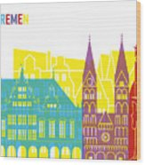 Bremen Skyline Pop Wood Print