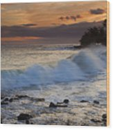 Brennecke Waves Sunset Wood Print