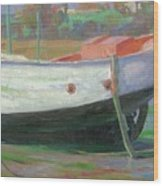 Breton Fisherboat At Paimpol  Bretagne   Wood Print