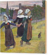 Breton Girls Dancing Pont-aven Wood Print