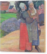 Breton Peasants Wood Print by Paul Gauguin