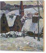 Breton Village Under Snow Wood Print by Paul Gauguin
