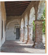 Brick And Stone Arches Line Walkway In Old Mission Ruin Wood Print