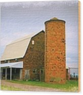 Brick Barn And Silo Wood Print