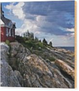Brick Bell House At Pemaquid Point Light Wood Print
