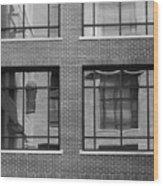 Brick Building Black And White Wood Print