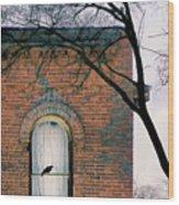 Brick Building Window With Bird Wood Print