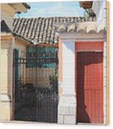 Brick House With Iron Gate Wood Print