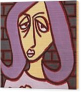 Brick Lady Wood Print