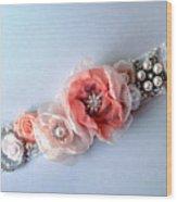 Bridal Sash Belt With Flowers And Rhinestones Wood Print