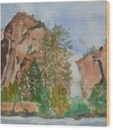 Bridalveil Fall At Yosemite  Wood Print