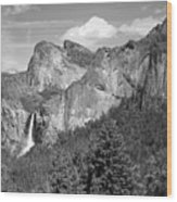 Bridalveil Falls From Tunnel View B And W Wood Print